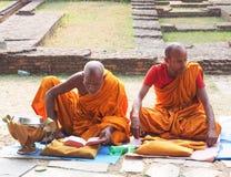 Monks. In lumbini Royalty Free Stock Photography