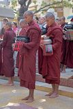 Monks at the Mahagandayon Monastery in Amarapura Myanmar Royalty Free Stock Photo