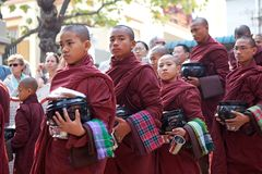 Monks at the Mahagandayon Monastery in Amarapura Myanmar Royalty Free Stock Photography