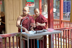 Monks at the Mahagandayon Monastery in Amarapura Myanmar Stock Photos