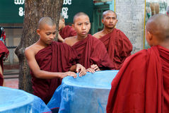 Monks at Mahagandayon Monastery of Mandalay Stock Image