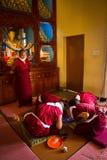 Monks making a Mandala Gyuto monastery, Dharamshala, India Royalty Free Stock Photography