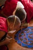 Monks making a Mandala Gyuto monastery, Dharamshala, India Stock Photos