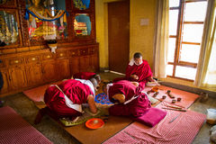 Monks making a Mandala Gyuto monastery, Dharamshala, India Royalty Free Stock Photo