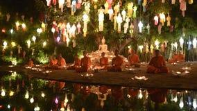 Monks meditate stock footage