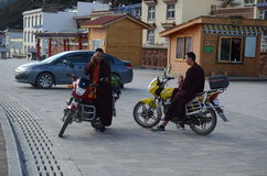 Monks on motorcycles Royalty Free Stock Photography