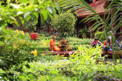 Monks in National Museum's garden, Phnom Penh, Cambodia stock photography