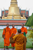 Monks Outside King's Palace Royalty Free Stock Photos