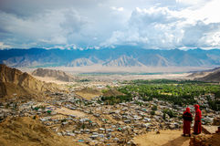 Monks over Leh Stock Photography