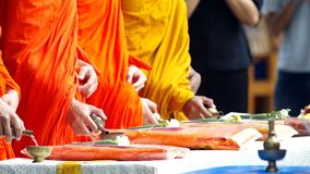 Monks poured water from small water pot to the conteiner stock video footage