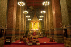 Monks praying in Buddhist church Royalty Free Stock Photo