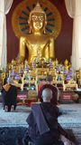 Monks praying. 3 monks are praying in Lanna Temple,  Chiang Mai Stock Images
