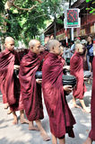 Monks Prepare to Eat Lunch royalty free stock images