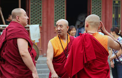 Monks are preparing for the annual holiday presentation at the Dazhao Monastery Stock Photography