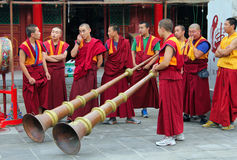 Monks are preparing for the annual holiday presentation at the Dazhao Monastery. HOHHOT, INNER MONGOLIA - JULE 12: Monks are preparing for the annual holiday Stock Photos