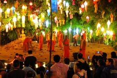Monks are preparing for Yee Peng Festival of Stock Images