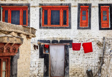 Monks quarters in Diskit Gompa Stock Image