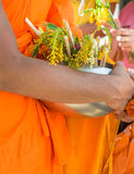 Monks receiving flower offering Stock Images