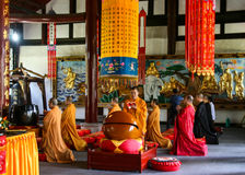 Monks reciting scriptures in daci temple,chengdu,china Royalty Free Stock Photos