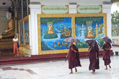 Monks regnar in på shwedagonpayatempelet yangon myanmar Fotografering för Bildbyråer