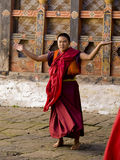Monks rehearsing for the Jakar tsechu (Festival) Stock Photography