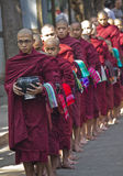 Monks in a row for lunch: Mahagandayon Monastery Stock Photos