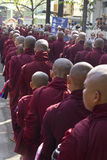 Monks in a row: Mahagandayon Monastery Stock Photo