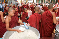 Monks in a row at Mahagandayon Monastery Stock Photography