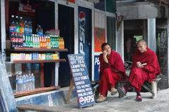 Monks in the Rumtek Monastery Stock Images