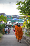 Monks at Sangkhlaburi Stock Photography