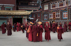 Monks of Seda Buddhist Academy. This is the famous La-Rong Wuming Buddhism Institute of Seda Country which in Sichuan Province of China. Taken on September 30 stock photos