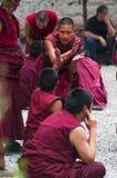 Buddhist monks` debating practice , drastic debating , Tibet stock photography