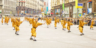 Monks of Shaolin monastery in China on parade in Moscow Royalty Free Stock Image