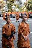 Monks of Shaolin monastery in China on parade of participants of international festival of military orchestras Royalty Free Stock Photography