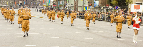 Monks of Shaolin monastery on parade in Moscow Stock Photography