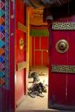 Monks shoes. Outside the prayer room, buddhist monastery, Ladakh, India Royalty Free Stock Image