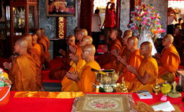 Chiang Mai, Thailand: Praying Monks at Wat Doi Suthep Royalty Free Stock Photo
