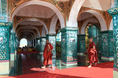 The monks in Sutaungpyei Pagoda at Mandalay Hill Stock Images