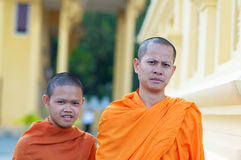 Monks in temple, Cambodia Stock Photography