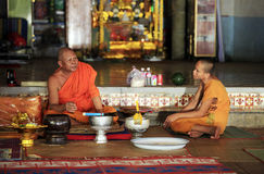 Monks in temple Royalty Free Stock Photo