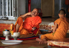 Monks in temple Royalty Free Stock Photos