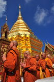 Chiang Mai, Thailand: Monks at Wat Doi Suthep Royalty Free Stock Images