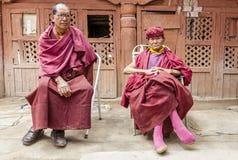 Monks at Thiksay monastery Royalty Free Stock Photo