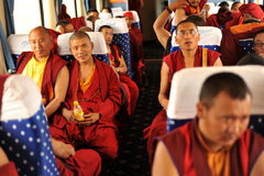 Monks on the tourr Stock Images