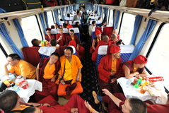 Monks travelling Stock Image
