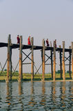Monks on U-Bein bridge Royalty Free Stock Image