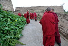 Monks in the village. Tibetan monks going to the near  Shacun monastery Royalty Free Stock Photography