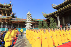Monks and volunteer gathering in nanputuo temple Stock Photography