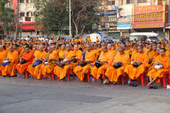Monks wait the auspicious to walk Stock Photography
