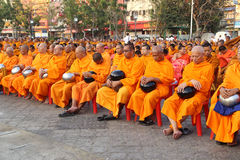 Monks wait the auspicious to walk to the public Royalty Free Stock Photo